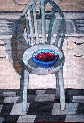 cherries on a chair