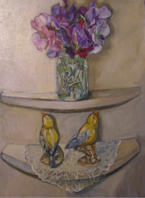 sweet peas and china birds