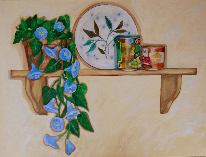 morning glories and canned fruit